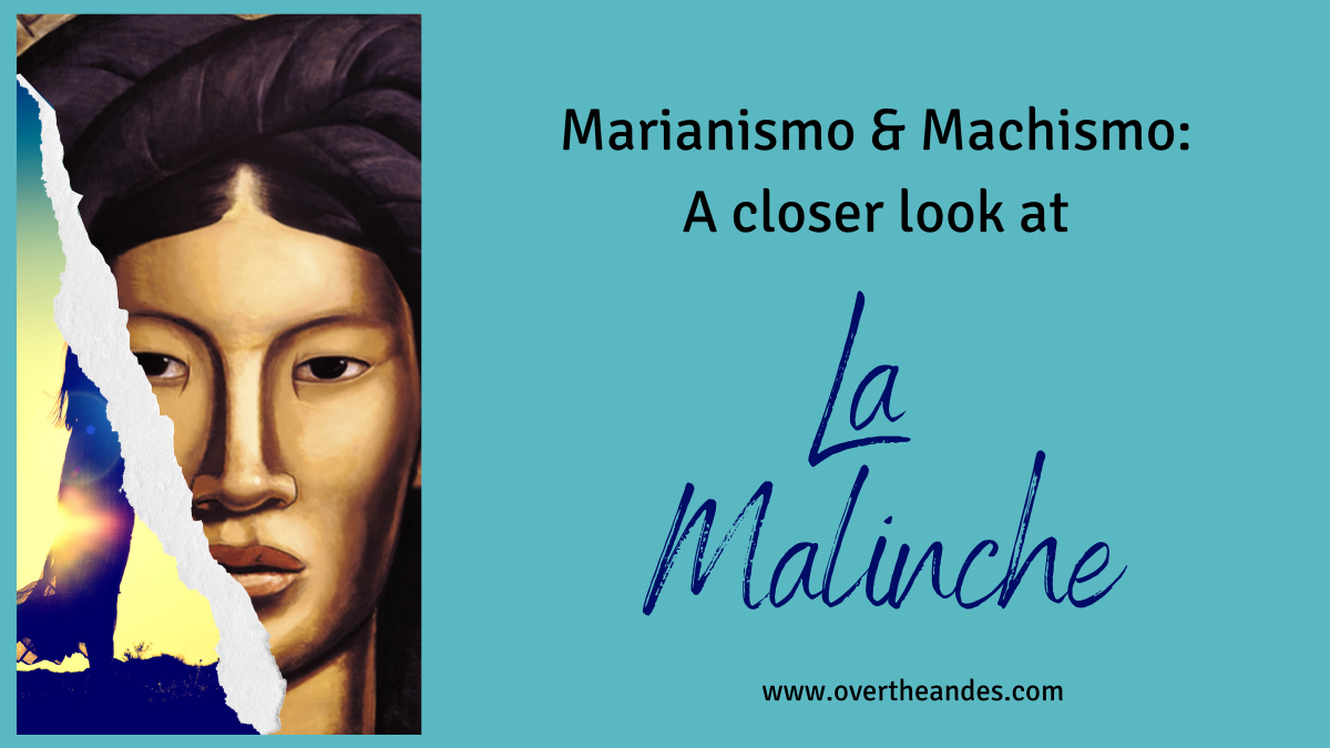 blue background with image of la Malinche superseding silhouette of a woman