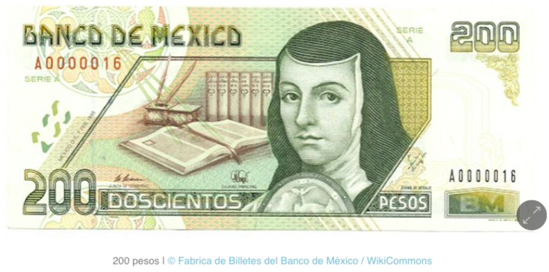 Image of Mexican bank note featuring Sor Juana