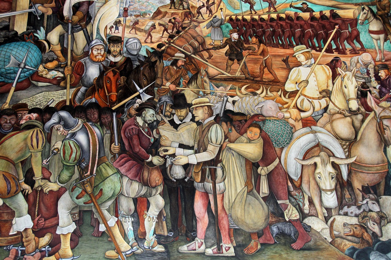 Diego Rivera Mural in Mexico City showing conquest and colonial times