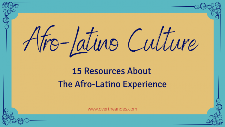 Turquoise background with tan overlay. text reads afro latino culture resources